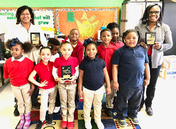 Save The Children Program sited our Program as the best in the MS River Delta Area. Barbara Rayford, far right and Sharon Johnson, sponsorship coordinator far left manage the In School Program.